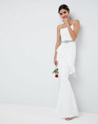 ASOS EDITION Wedding - Vestito lungo con volant e cintura decorata