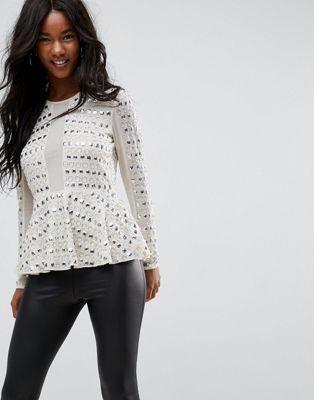 Image 1 of ASOS Embellished Plunge Top With Peplum