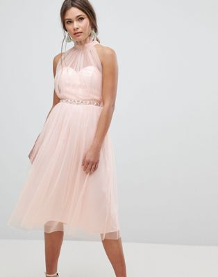 Image 1 of ASOS Embellished Waist High Neck Tulle Midi Dress