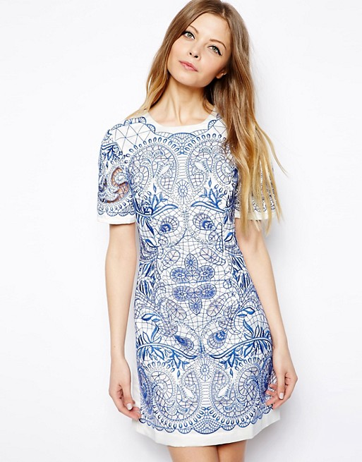 Image 1 of ASOS Embroidered Cutwork T-Shirt Dress