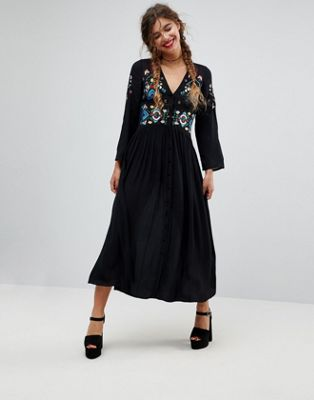 Image 1 of ASOS Embroidered Maxi Dress
