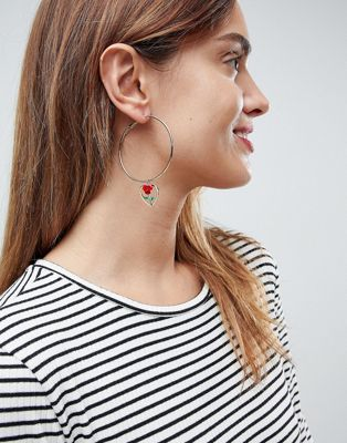 ASOS Enamel Rose Heart Hoop Earrings