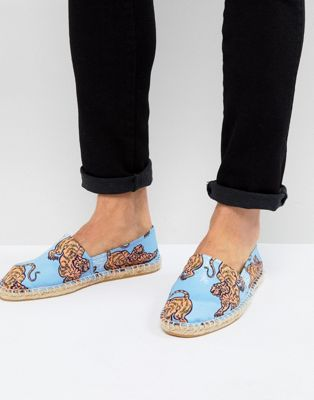 ASOS - Espadrilles avec motif tigre - Bleu