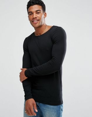 ASOS Extreme Muscle Long Sleeve T-Shirt With Boat Neck In Black