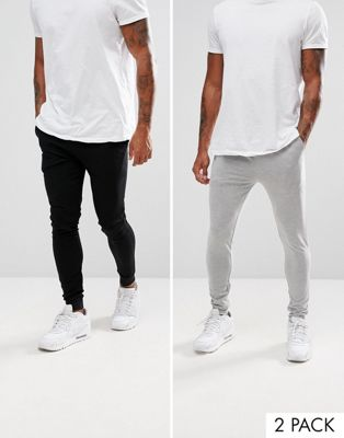 Image 1 of ASOS Extreme Super Skinny Jogger 2 Pack Black/Gray Marl SAVE