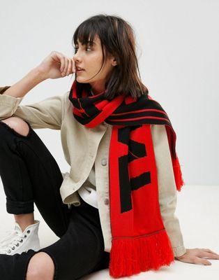 ASOS – Fan-Schal mit Schriftzug und Fransen