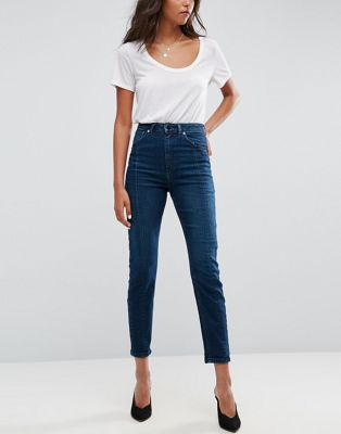 ASOS FARLEIGH High Waist Deconstructed Slim Mom Jeans In Belle Green Cast