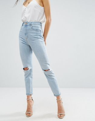 ASOS FARLEIGH High Waist Slim Mom Jeans In Beech Light Stonewash with Busted Knees and Chewed Hems