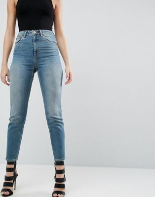 ASOS FARLEIGH High Waist Slim Mom Jeans in Chayne Wash