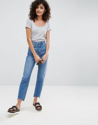 ASOS FARLEIGH High Waist Slim Mom Jeans in Jacinta Pretty Mid Wash