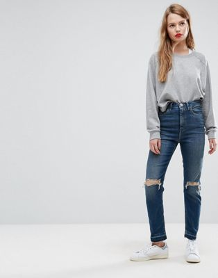 ASOS FARLEIGH High Waist Slim Mom Jeans in Sonnet Aged Vintage Dark Wash with Busts and Cinch Back