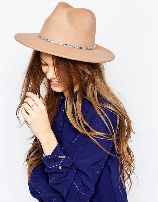 ASOS Fedora Hat With Skinny Snake Chain