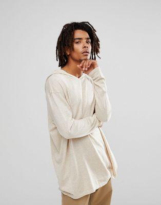 ASOS - Felpa con cappuccio in cotone color avena