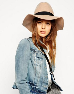 Image 1 of ASOS Felt Fedora Hat With Wide Band