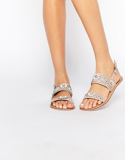 35270107d ASOS FI Embellished Leather Flat Sandals