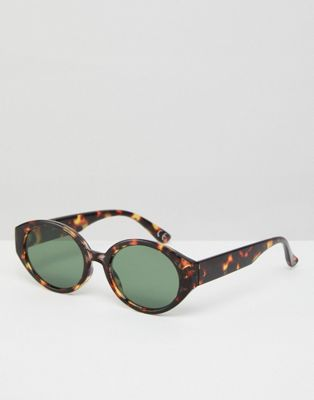 ASOS Fine Frame Oval Sunglasses In Tort