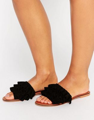Image 1 of ASOS FION Suede Ruffle Sliders