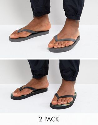 ASOS Flip Flops 2 Pack In Camo And Grey SAVE