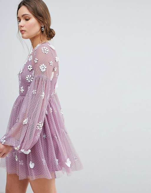 ASOS Floral Cluster Embellished Balloon Sleeve Mini Dress