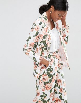 Image 1 of ASOS Floral Edge to Edge Blazer Co-ord