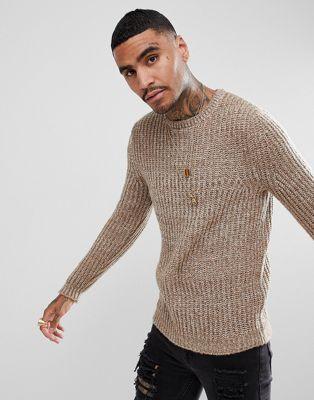 ASOS Fluffy Fisherman Rib Sweater In Oatmeal