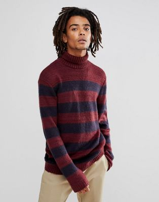 Image 1 of ASOS Fluffy Jumper In Navy And Burgundy Stripe