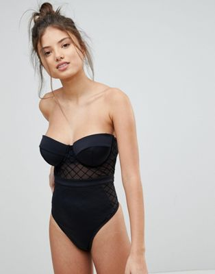 ASOS FULLER BUST Diamond Mesh Cupped Swimsuit
