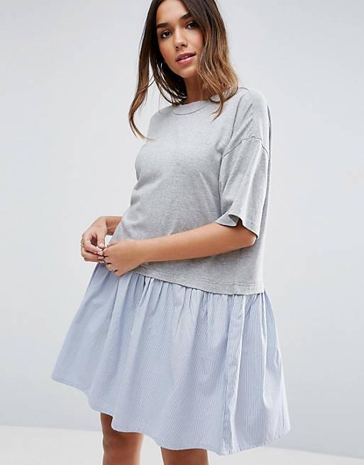 ASOS – Gesmoktes T-Shirt-Hängerkleid mit gewebtem Rüschensaum