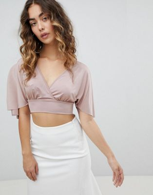 ASOS Going Out Angel Sleeve Slinky Crop Top