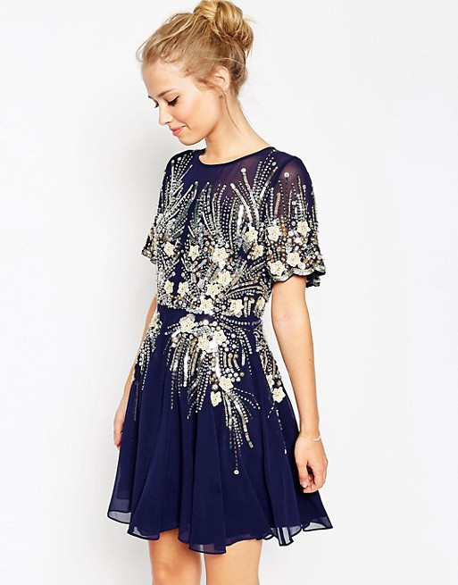 218db7c2 ASOS Gold And Navy Sparkle Mesh Skater Dress | ASOS