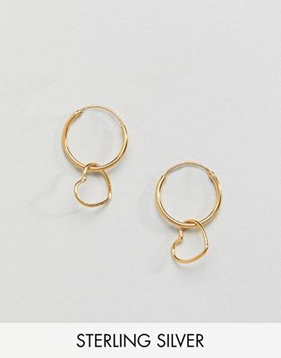 ASOS Gold Plated Sterling Silver Hanging Heart Charm Hoop Earrings