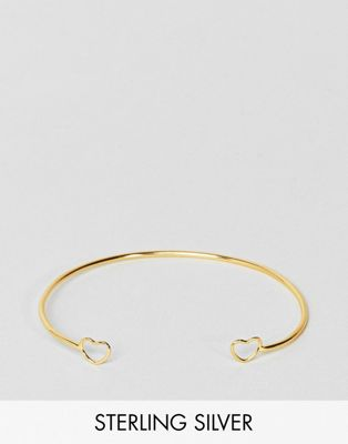 ASOS Gold Plated Sterling Silver Open Heart Cuff Bracelet