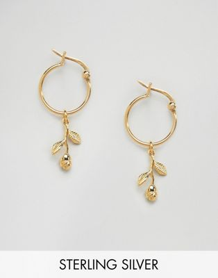 ASOS Gold Plated Sterling Silver Rose Charm Hoop Earrings