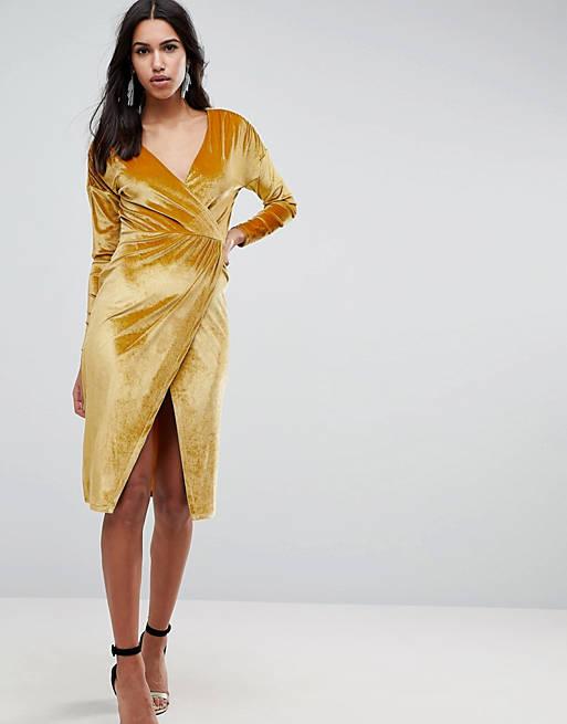 Asos Gold Velvet Wrap Midi Dress