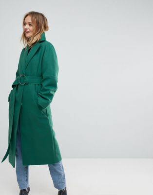ASOS Green D Ring Belted Long Coat