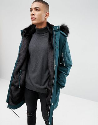 ASOS Heavyweight Parka With Faux Fur Lining In Bottle Green