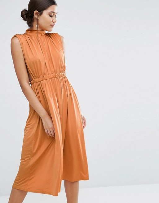 103cdcdd62bc ASOS High Neck Ruched Open Side Midi Dress | ASOS