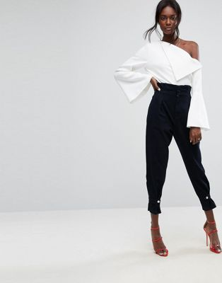 ASOS High Waisted Denim Trousers with Cinch Hem