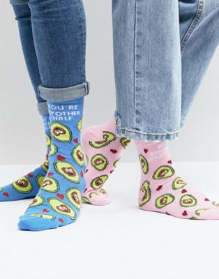 ASOS His & Hers Valentines Socks With You're My Avo Half