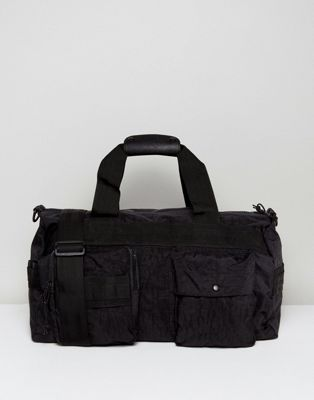 ASOS Holdall In Black Textured Fabric With Front Pocket