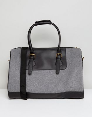 ASOS Holdall In Grey Melton With Faux Leather Trims