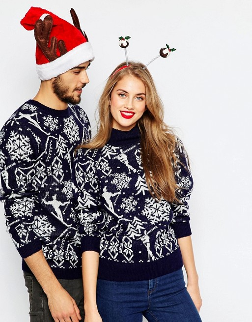 ASOS Holidays Sweater In Vintage Ski Motif with High Neck