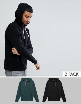 ASOS Hoodie 2 Pack Black/Green SAVE