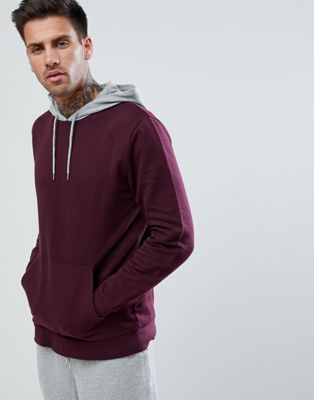ASOS Hoodie With Contrast Hood In Burgundy And Grey Marl