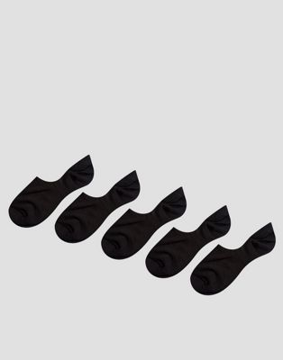ASOS Invisible Socks In Black 5 Pack