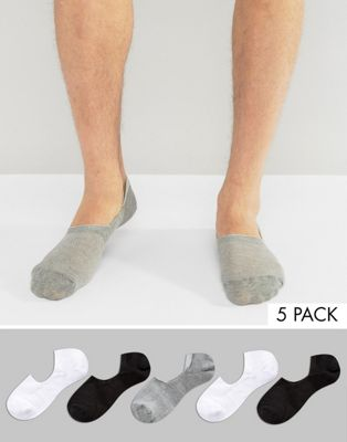 ASOS Invisible Socks In Mini Waffle 5 Pack