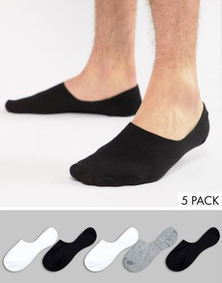 ASOS Invisible Socks In Monochrome 5 Pack