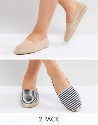 ASOS JALLY Two Pack Espadrilles
