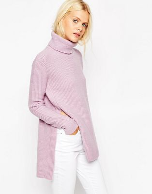 ASOS Jumper in Brushed Yarn with High Neck and Side Splits