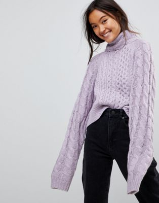 ASOS Jumper In Crop Cable With Wide Sleeve